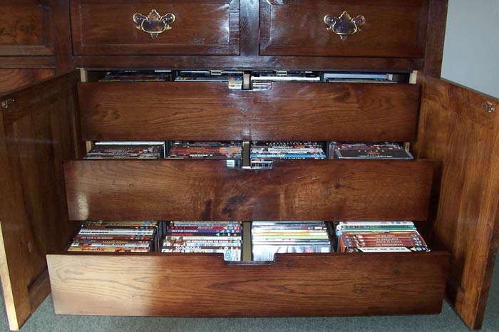 Open Drawers Cd And Dvd Storage Cabinet