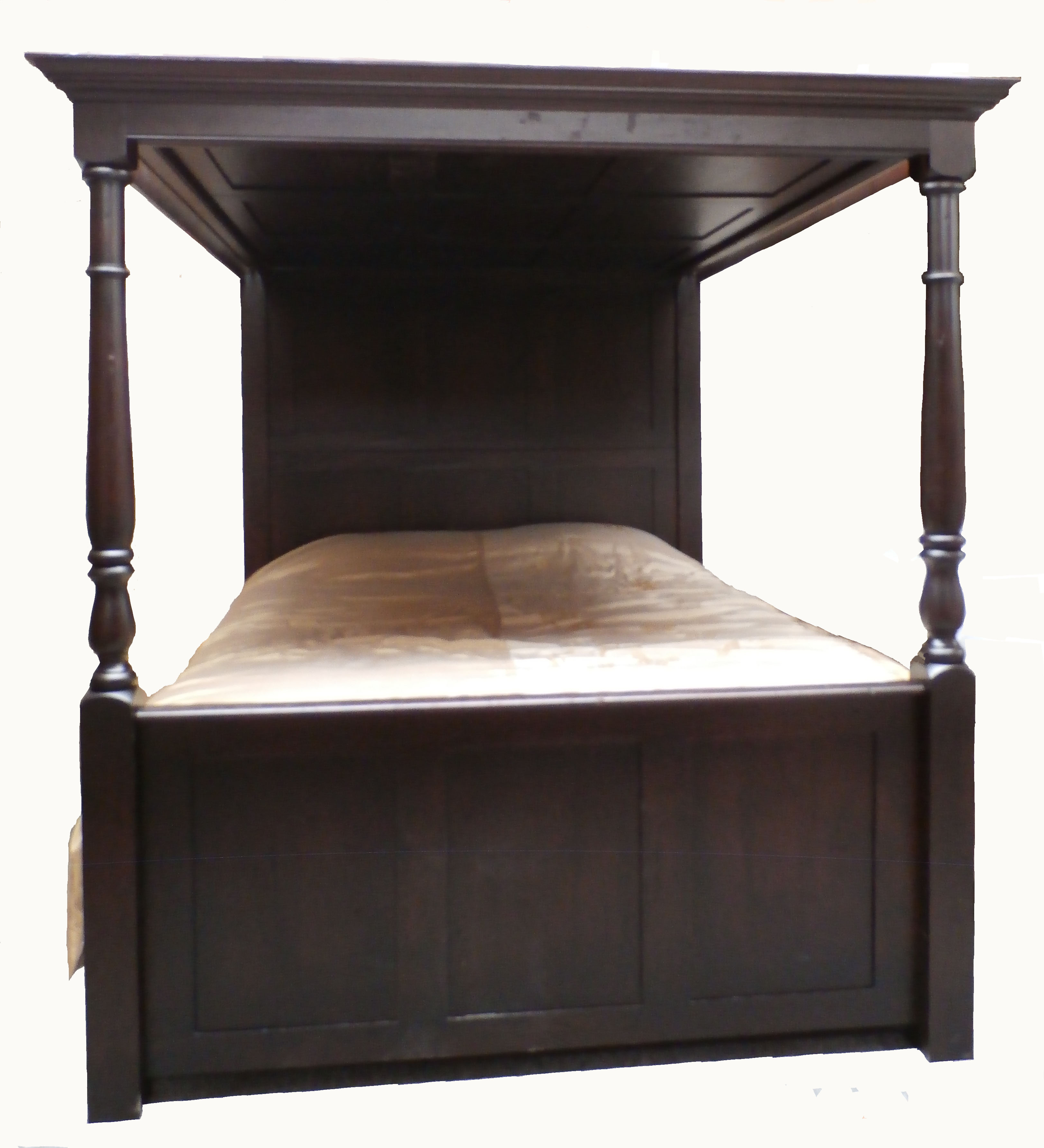 Fully Paneled Lyons Hall Four Poster Bed, Dark Matte
