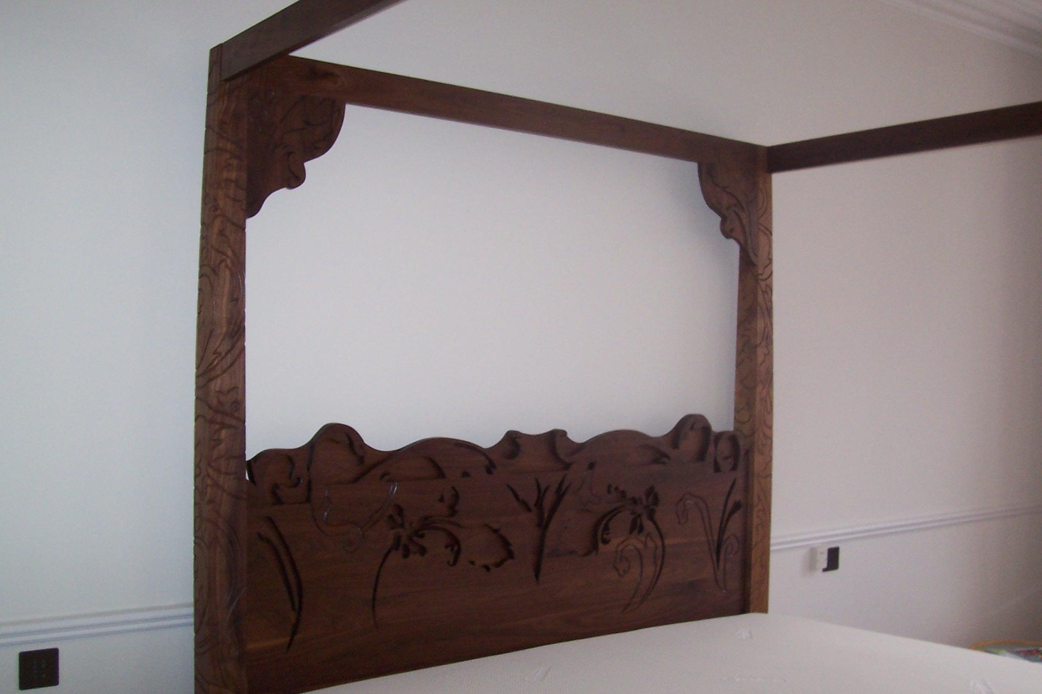 Carved Walnut Headboard
