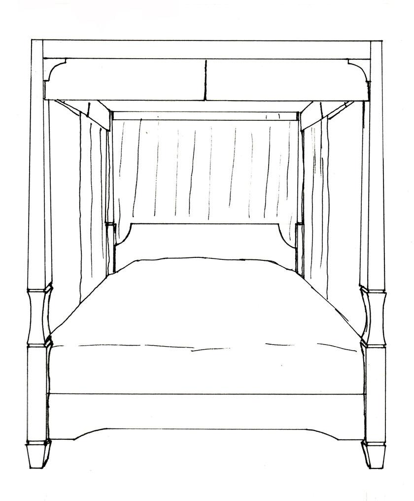 Blue print design Apple Core Bed