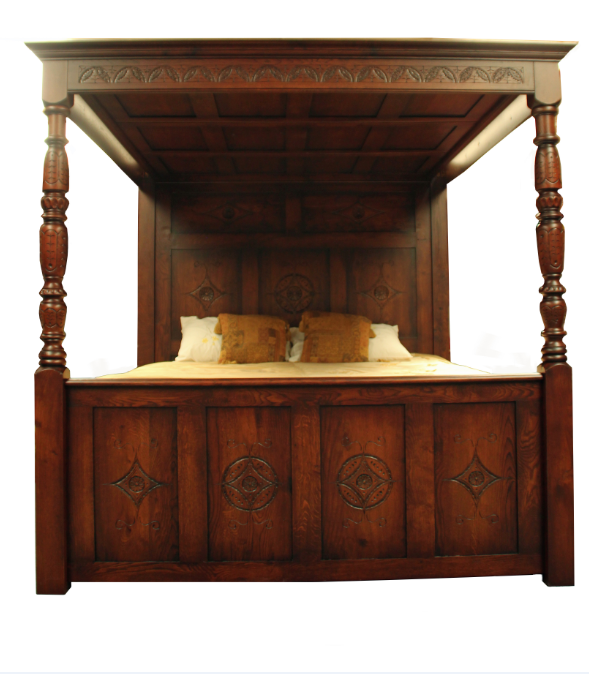 Carved Oak Bed