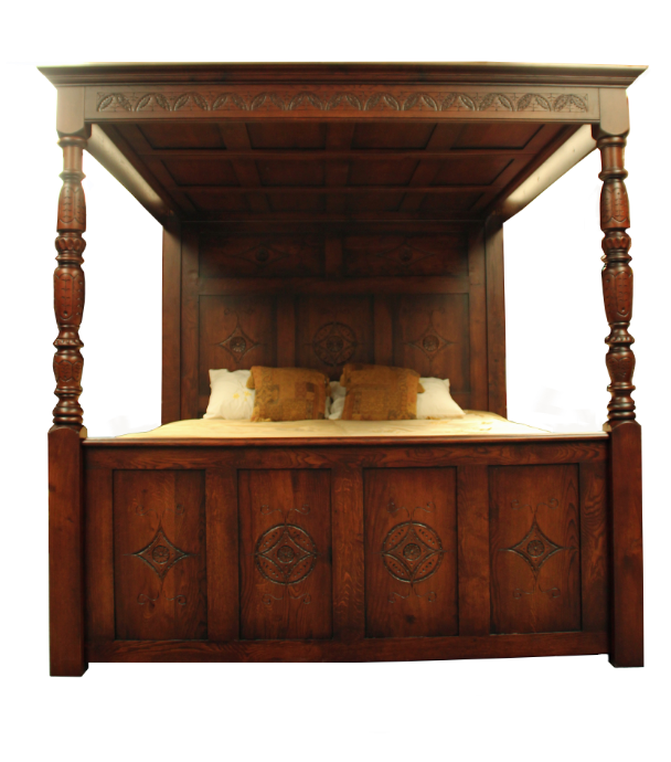 Carved Oak Bed