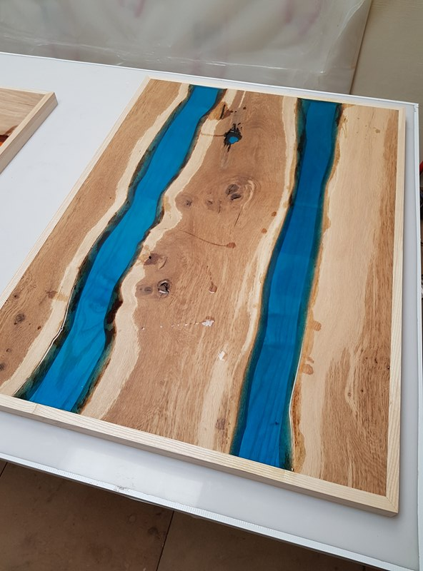 Brown Oak with Blue River
